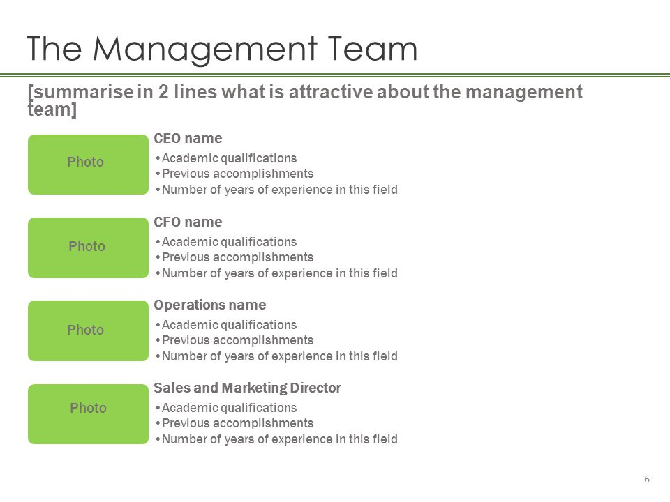 The Management Team [summarise in 2 lines what is attractive about the management team] CEO name.